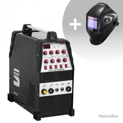 Set d'équipement de soudage Poste à souder aluminium - 200A - 230V- Temps 2/4 + Masque de soudure -