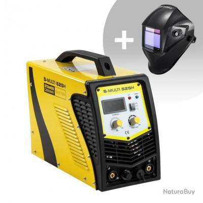 Set d'équipement de soudage Poste combiné - TIG 180A - Cut 40A - E-Hand + Masque de soudure - Carbon