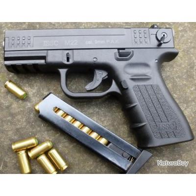 Pistolet à Blanc Semi Auto Type Glock 9mm PAK ISSC M22 Z 13 Coups + Malette