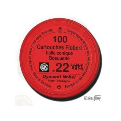 CARTOUCHES RWS BALLE CONIQUE BOSQUETTE - CALIBRE .22 - PAR 100