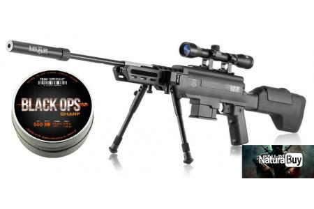 Pack Carabine a Plombs 20 JOULES Black Ops Cal.4.5 +Lunette+Bipied+Silencieux+500 Plombs+ 20 Cibles