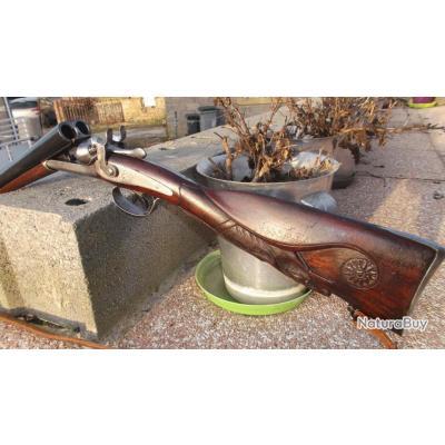 Unique fusil à chiens à percussion centrale, calibre 16/65 Aux enchères à l'envers,voir descriptions