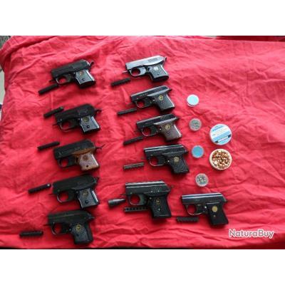 GROS LOT  de 11  pistolet d alarme 6mm RG5S  , RG3 ,RG3S ,RG2 ,RG2S, 1 PATEN EMGE + gaz CS et boite