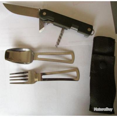 COUTEAU TATOU / TATOO / Armée française neuf / ORIGINAL THIERS / housse+couteau+cuilliere+fourchette