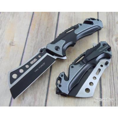 Couteau Tactical Rescue A/O Lame Acier 3CR13 Manche Alu Grey Coupe Ceintures Brise Vitres TF1014BGY