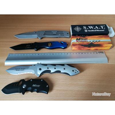 Lot 4 couteaux pliants Smith & Wesson MTECH SWAT