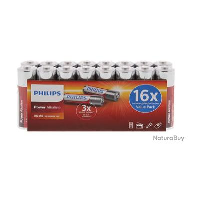 LOT DE 16 PILES ALKALINE LONGUE DURÉE PHILIPS POWER  AAx16