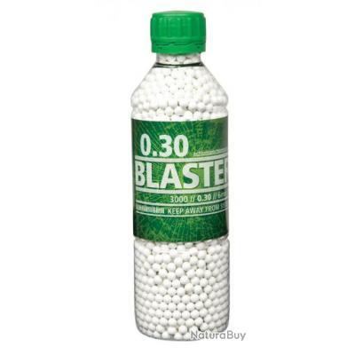 BILLES X 3000 BLANCHES MONOBLOC 0.30g BLASTER EN BOUTEILLE ASG