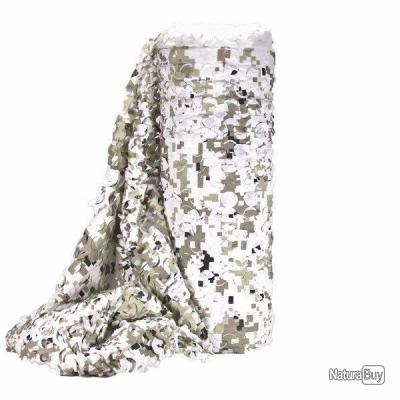 FILET CAMOUFLAGE SNOW DIGITAL BULK FACE BLANCHE A LA COUPE LARGEUR 2.4M X 6 METRES