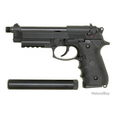 PISTOLET A BILLES M92F / M9 GAZ BLOWBACK GBB NOIR 0.84 JOULE KJW