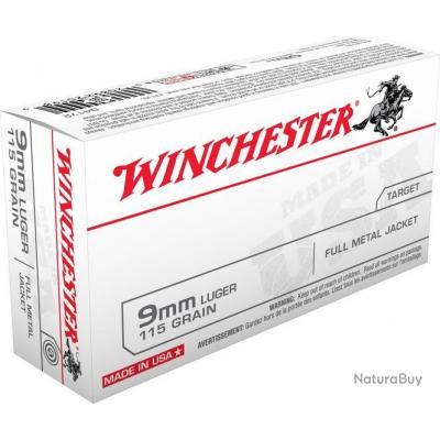 Balle Winchester 9mm Luger FMJ 147GR 9.53G PAR 500