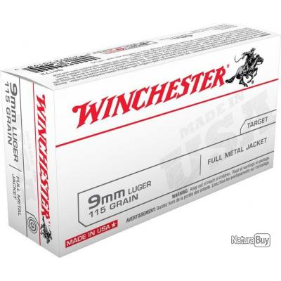 Balle Winchester 9mm Luger FMJ 115GR 7.45G par 1000