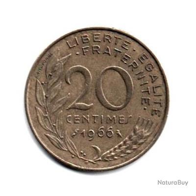Pièce de Monnaie France 20 centimes Marianne 1966 Paris