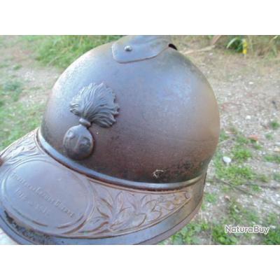 Casque mod 15 infanterie jus grenier plaque soldat de la grande guerre 14 18 première guerre ww1