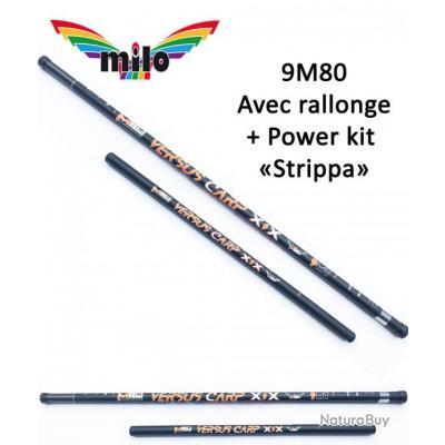 Pack Coup / Carpe Canne Milo / Gérardix Versus Carp XIX De 9M00 + Rallonge + Power Kit « Strippa »