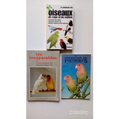 Lot livres inséparables et oiseaux de cages et de volières