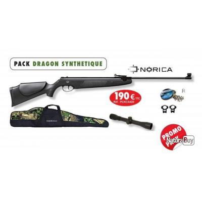 84d2babd94 Pack Carabine air comprimé Norica Dragon cal.4.5 Synthétique + Lunette +  housse + plombs