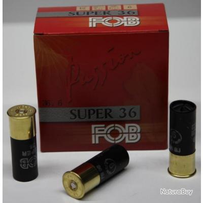 CARTOUCHE FOB SUPER 36 36GR BOURRE JUPE PLOMBS DE 6 CAL. 12/70 X25