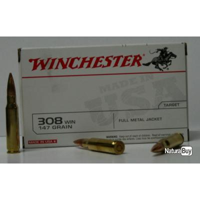 MUNITIONS WINCHESTER 147GR FMJ CAL. 308 X20