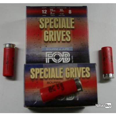 CARTOUCHE FOB SPECIAL GRIVE 32GR BOURRE JUPE PLOMBS DE 8 CAL. 12/70 X25