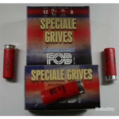 CARTOUCHE FOB SPECIAL GRIVE 32GR BOURRE JUPE PLOMBS DE 8 CAL. 12/70 X25