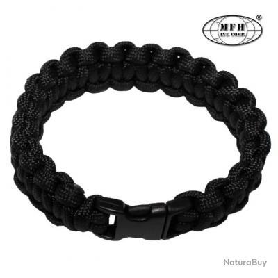 Bracelet Paracorde - Largeur 1,9 cm - Couleur Noir