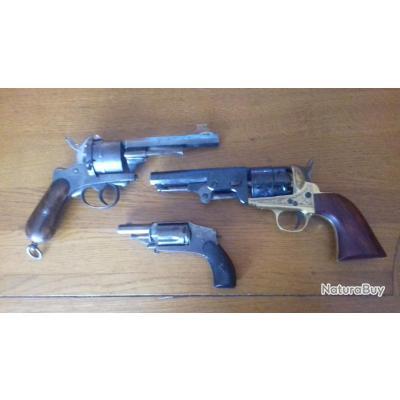 A saisir lot de 3 armes poudre noir : 11 mm Lefaucheux , 6 mm velodog et Pietta neuf en 44  !