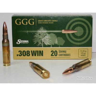 CARTOUCHE GGG 175GR HPBT CAL. 308 WIN X20