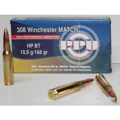 CARTOUCHE PPU 168GR HPBT CAL. 308 WIN X20