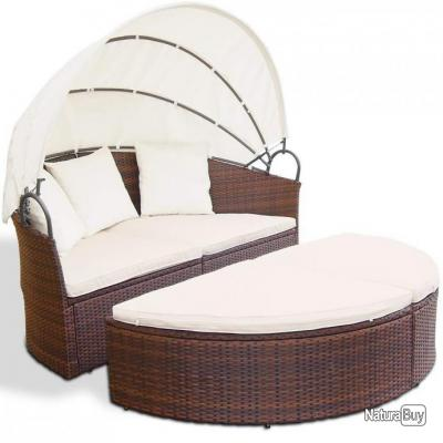 Salon de jardin lit bain de soleil canapé rond transat ...