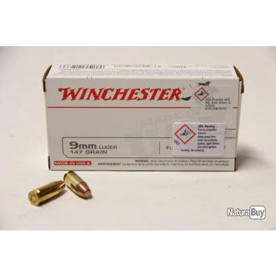 50 munitions 9x19 Winchester FMJ 147grs