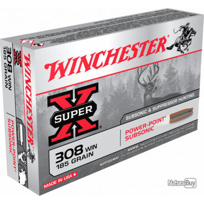 Munition Winchester Cal. . 308 win Subsonique - chasse et tir