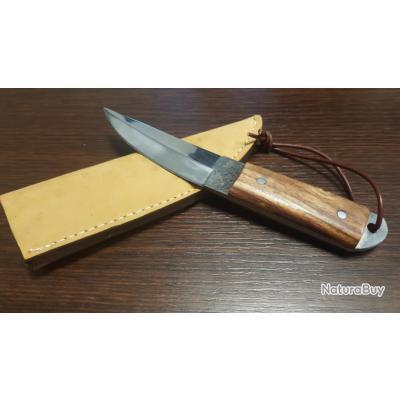 Poignard Couteau de Chasse Lame Acier Carbone 1075 Manche bois Etui Cuir Fabrication Artisanale
