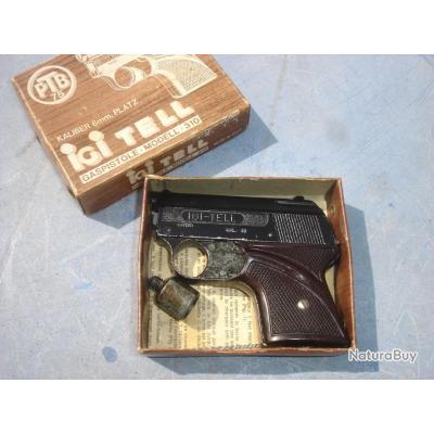 Pistolet d'alarme starter IGI TELL calibre 6mm à blanc (made in Italy) complet et en boite d'origine