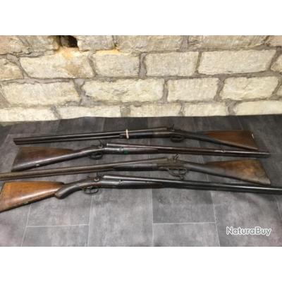Lot de 4 fusils juxtaposé à chiens extérieur cal 12 catégorie D2 pour bricoleurs ou collectionneurs
