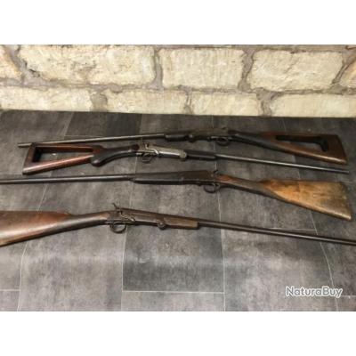 Lot de 4 fusils mono-coup calibre 410 et 12mm  à clef serpentine catégorie D2