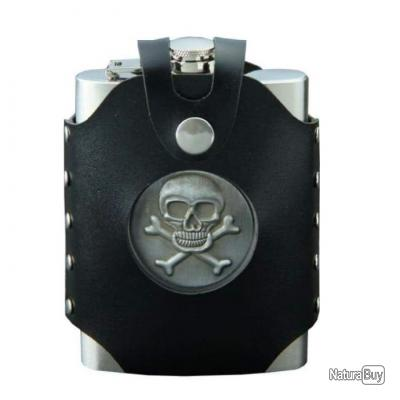 Flasque inox et pochette Hip Pirate 23.5 cl