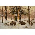 Puzzle mosaïque Mavril - Sanglier neige - 70 x 100 cm
