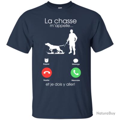 vente limitée le magasin prix le plus bas T-shirt uni La chasse m'appelle ... - 6 Couleurs - Bleu nuit / S