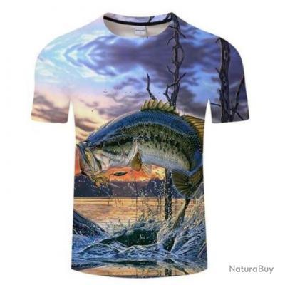 T shirt Fishid 3D Chandelle de bass