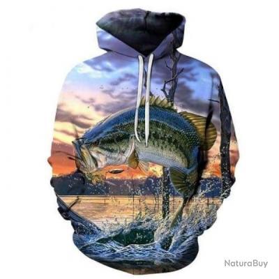 Sweat à capuche Fishid 3D Bass jump