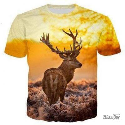 T shirt Blund 3D Cerf looking back