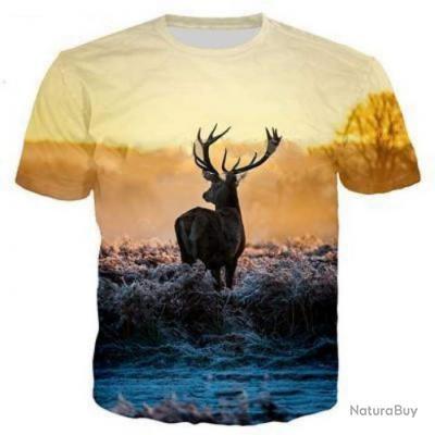T shirt Blund 3D Cerf Solitaire