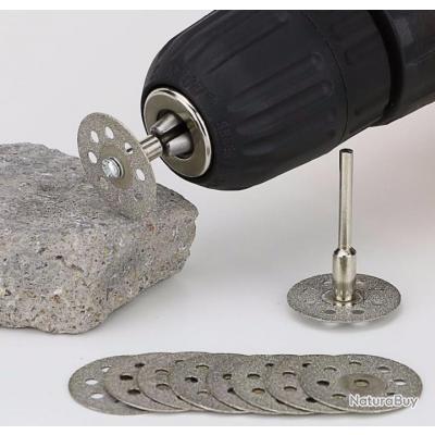10 disques de découpe diamantés diamètre 22mm + 2 mandrins pour outil portatif type dremel
