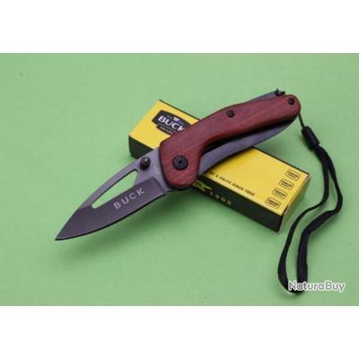 Couteau Compact Pliant de Poche BUCK Lame Acier 6,5 cm Manche Bois 8,5 cm