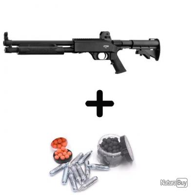 PACK FUSIL À POMPE À CO2 DE DÉFENSE T4E SG68 WALTHER UMAREX +ADAPTATEUR CO2 + 200 BILLES + 10 CO2