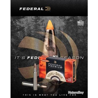 Munitions FEDERAL TROPHY COPPER VITAL.SHOK 165g / 10.69gr Cal 30.06 Sprg Boite de 20
