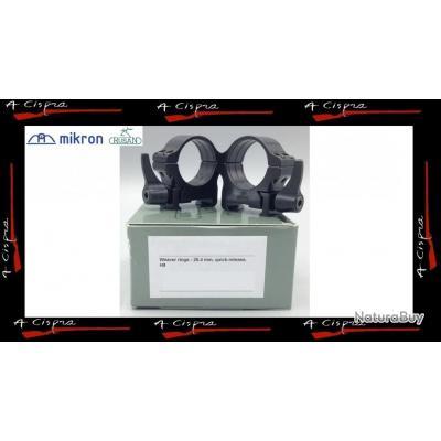 """Colliers Acier amovibles HAUT - Diam. 25,4mm/1""""- Rusan Quick-release pour rails weaver & picatinny"""