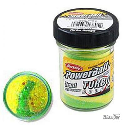 Pâte a truite Berkley PowerBait Glitter Turbo Dough - Spring Yellow Green