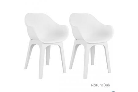 Chaises de jardin avec accoudoirs 2 pcs Blanc Plastique